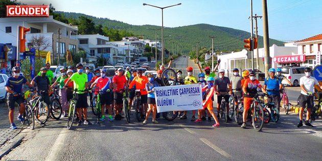 """Bodrumlu Bisikletçiler Sürücüleri Uyardı """"Bisikletime Çarparsan Ölürüm"""""""